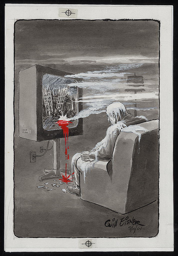 Will Eisner, Reality 9/11, ink, with red pigment mylar overlay, 2001. Library of Congress, Prints and Photographs Division. Gift of Will Eisner.